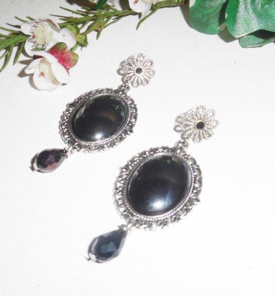 Boucles d'oreilles avec cabochon pierre d'hématite en métal argent
