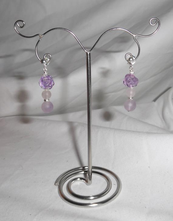 Boucles d'oreilles argent 925 rose en améthyste avec perles