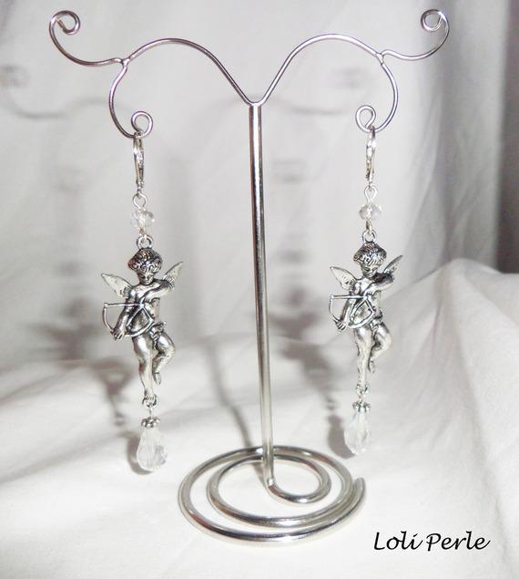 Boucles d'oreilles ange et gouttes en cristal