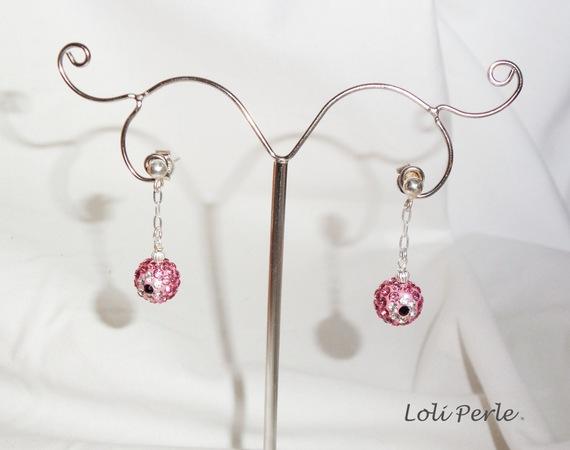 Boucles d'oreilles argent 925 avec perles en cristal rose