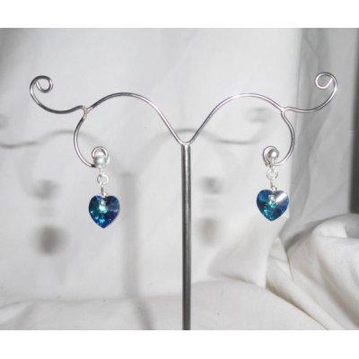 Boucles d'oreilles coeur bleu en cristal de Swarovski sur clous argent 925