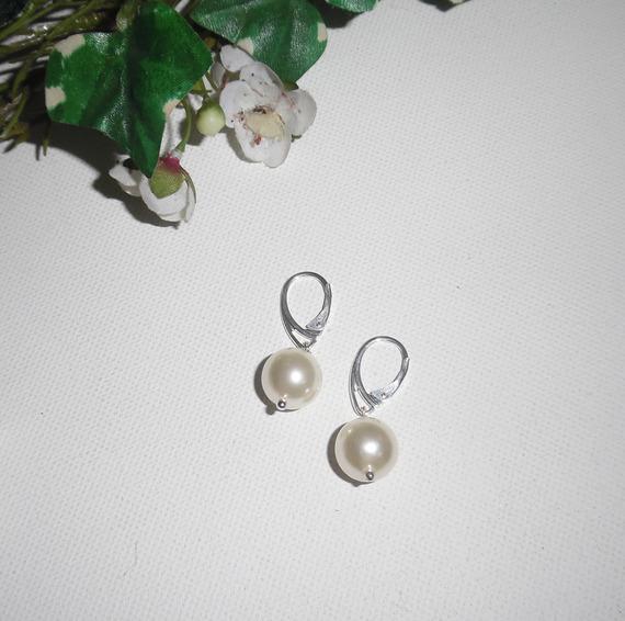 Boucles d'oreilles en perles de culture  sur dormeuses en argent 925