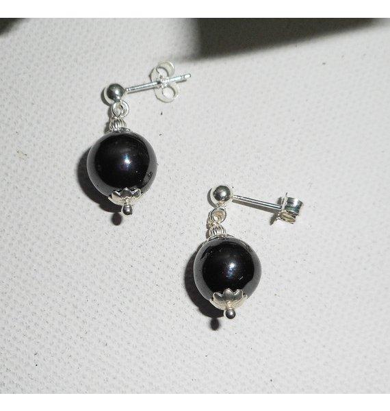 Boucles d'oreilles en pierres d'hématites 10mm sur argent 925