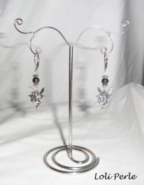 Boucles d'oreilles fée avec pierres d'hématites