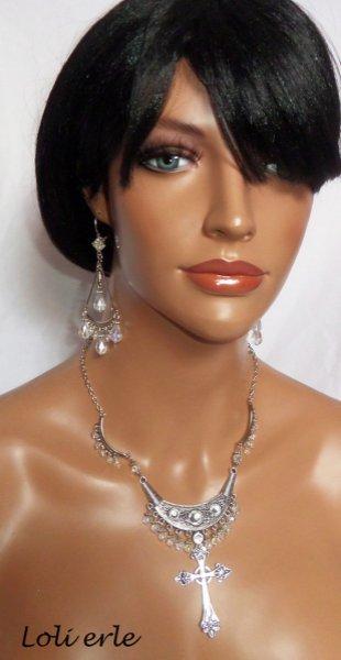 Boucles d'oreilles longues avec perles de cristal