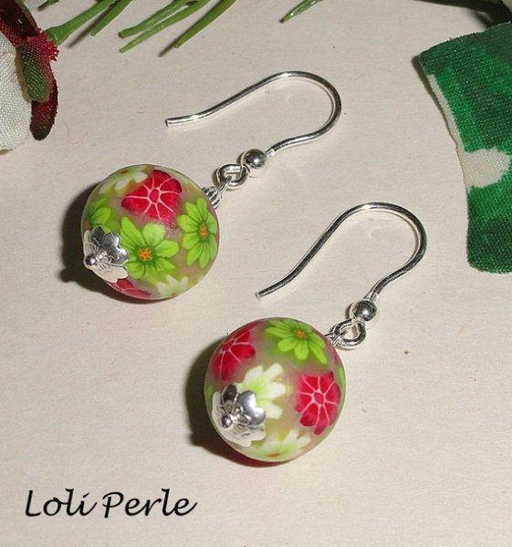 Boucles d'oreilles perles d'argile fleurie  en argent 925
