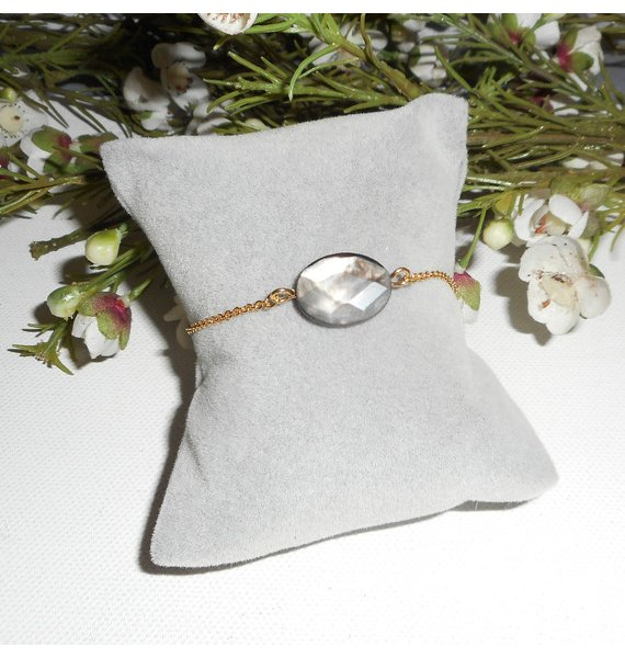 Bracelet abalone sur chaine plaqué or