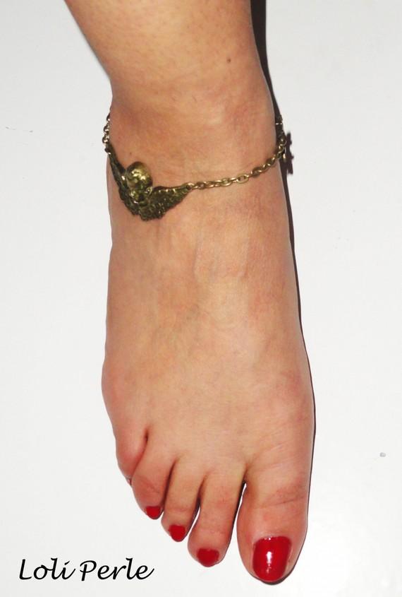 Bracelet/chaine de cheville ange avec noeuds en métal bronze