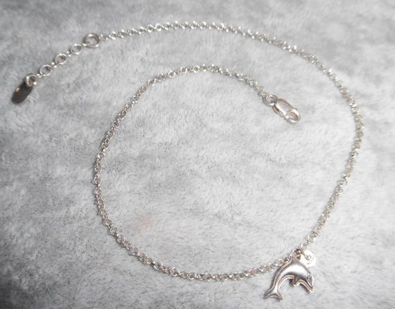Bracelet/chaine de cheville avec dauphin sur chaine argent 925