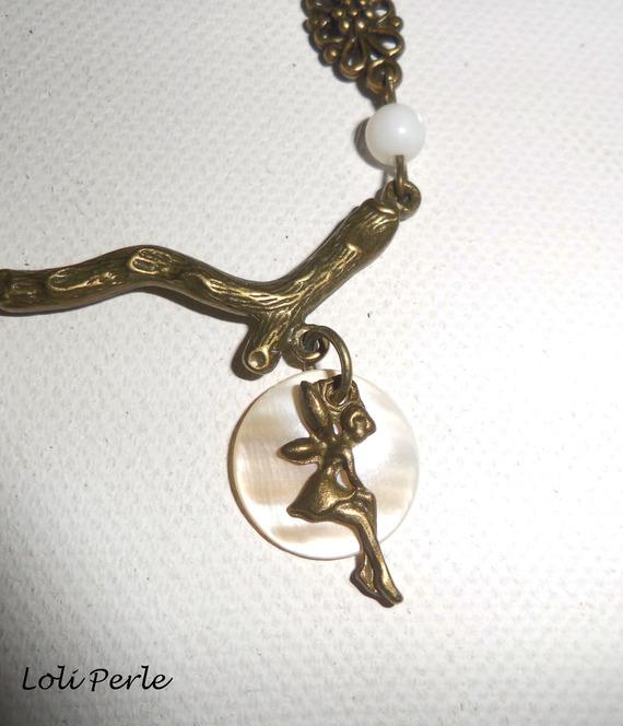 Bracelet/chaine de cheville avec nacre et fée en métal bronze