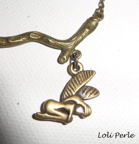 Bracelet/chaine de cheville avec branche et fée en métal bronze