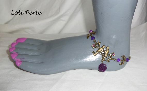 Bracelet/chaine de cheville originale avec oiseaux bronze et rose violette