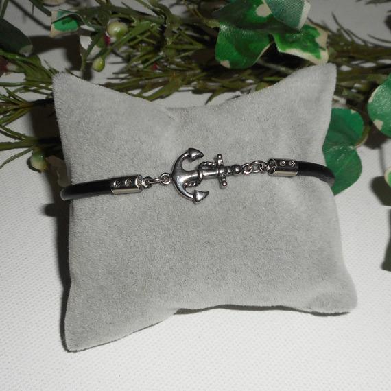 Bracelet cuir avec fermoir ancre en acier inoxydable