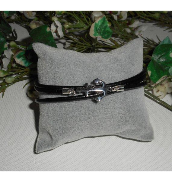 Bracelet cuir double rangs avec  ancre en acier inoxydable