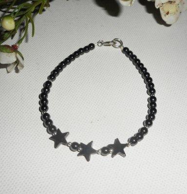 Bracelet en pierres d'hématite avec étoiles et argent 925