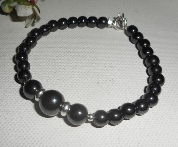 Bracelet en pierres d'hématite et argent 925