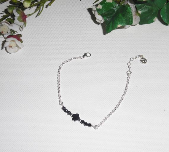 Bracelet fleur et pierres d'hématite sur chaine en argent 925