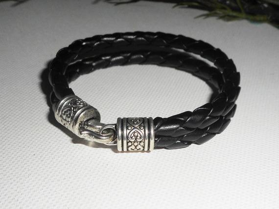 Bracelet homme cuir double rangs avec fermoir crochet