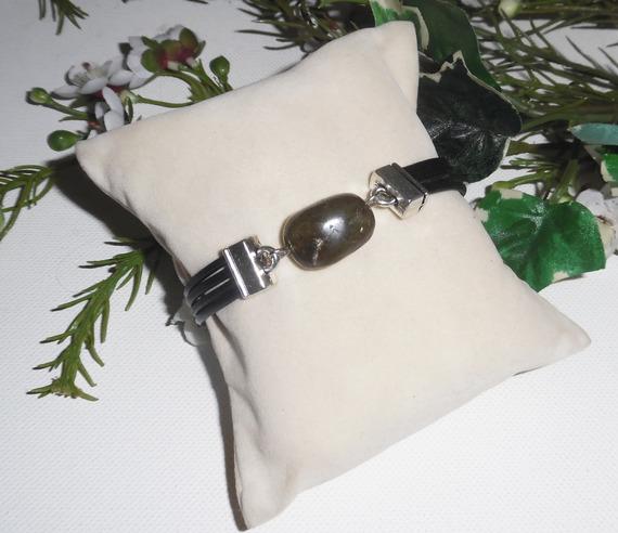 Bracelet homme cuir multi-rangs avec pierre de labradorite