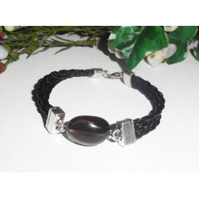 Bracelet homme cuir multi-rangs avec pierre de quartz fumé