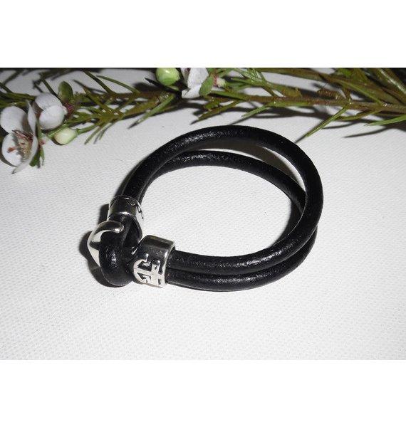 Bracelet original encre marine sur cordon de cuir noir homme