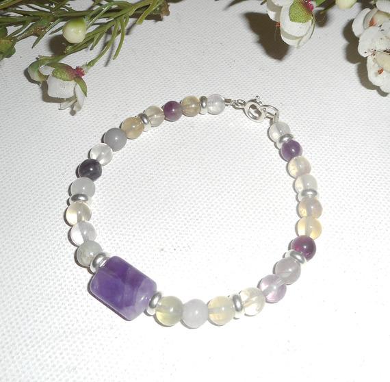 Bracelet pavé en améthyste et pierres de fluorite sur argent 925