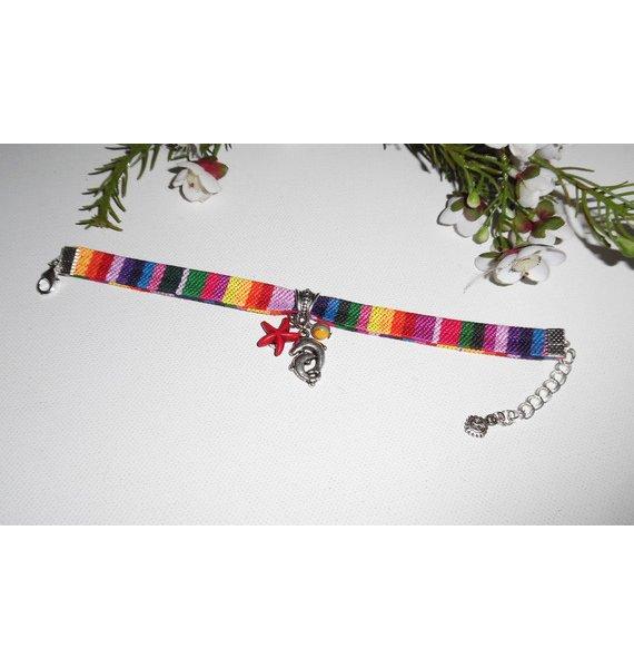 Bracelet tissus coloré avec pampilles dauphin et étoile de mer rouge