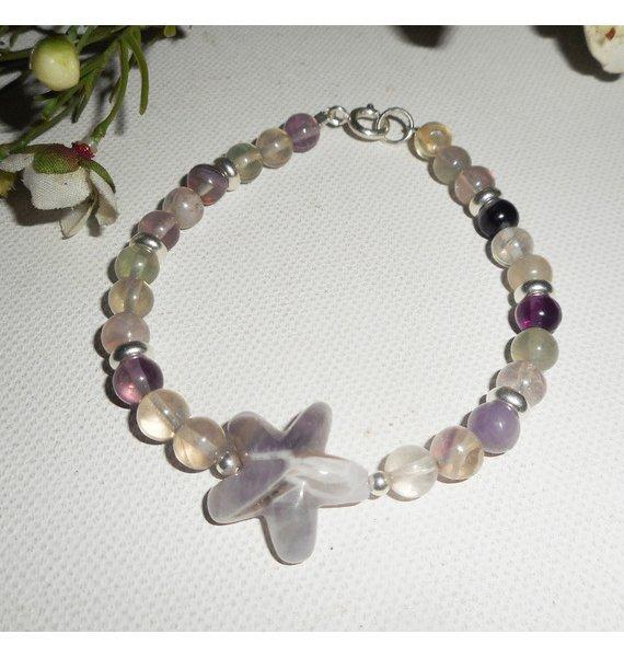 Bracelet étoile en améthyste et pierres de fluorite sur argent 925