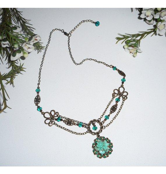 Collier camé floral serti de cristal vert sur chaine bronze