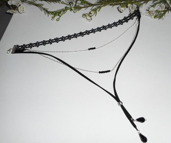 Collier multi-rangs ras de cou en dentelle noire avec chaine et cristal de bohème noir