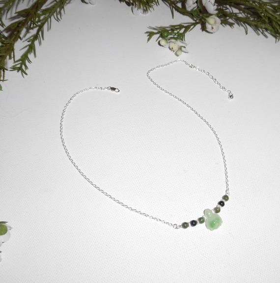 Collier original en argent 925 avec tortue et perles en jade sur chaine