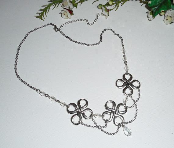 Diadème avec perles en cristal de bohème  et motifs celtiques 2 en 1