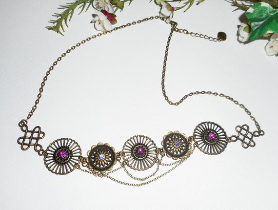 Diadème bronze avec strass en cristal de Swarovski rose et violet