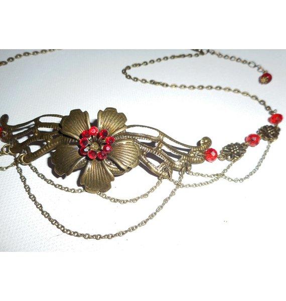 Diadème bronze avec perles en cristal de bohème rouge et motif floral