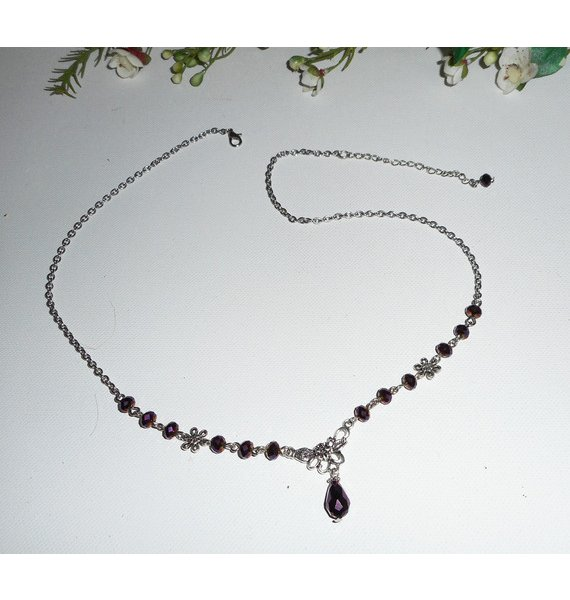 Diadème motif floral avec perles en cristal de bohème violet 2 en 1