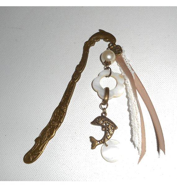 Marque pages nacre et dauphin en métal bronze avec rubans