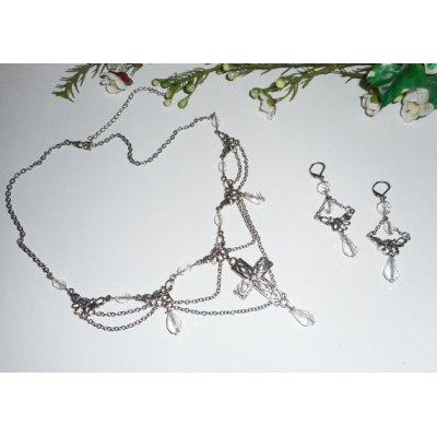 Parure Collier originale avec perles en cristal de bohème jeu de chaine et croix argent