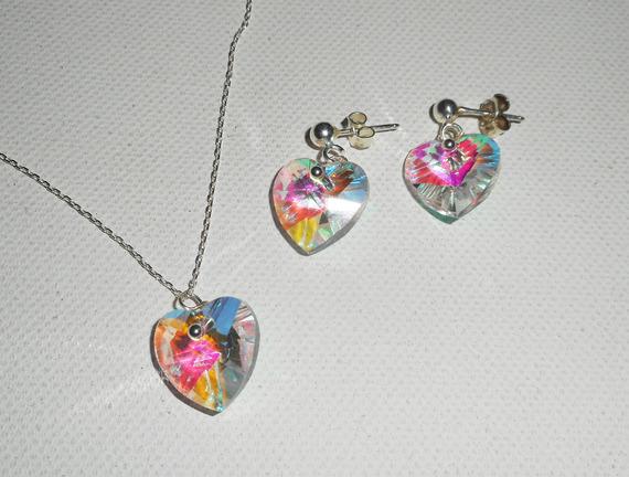 Parure Pendentif coeur blanc AB en cristal de Swarovski sur chaine argent 925