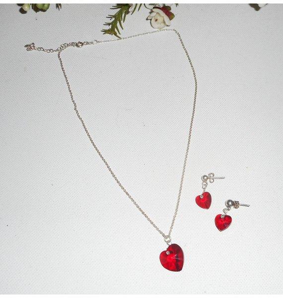 Parure Pendentif coeur rouge en cristal de Swarovski sur chaine argent 925
