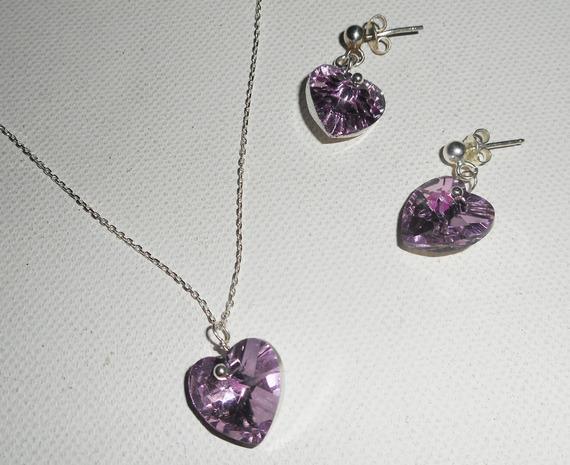 Parure Pendentif coeur mauve en cristal de Swarovski sur chaine argent 925