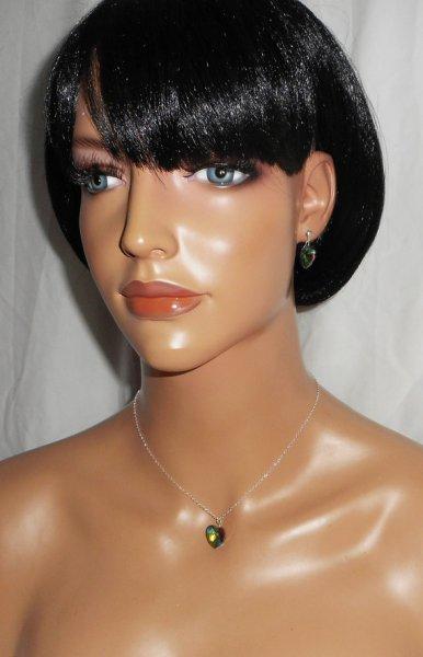 Parure Pendentif coeur vert en cristal de Swarovski sur chaine argent 925