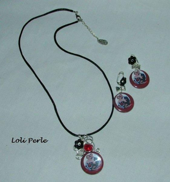 Pendentif avec perles en cristal et votre photo au choix