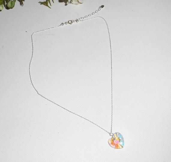 Pendentif coeur blanc AB en cristal de Swarovski sur chaine argent 925
