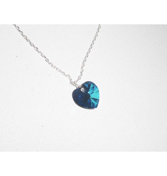 Pendentif coeur bleu en cristal de Swarovski sur chaine argent 925
