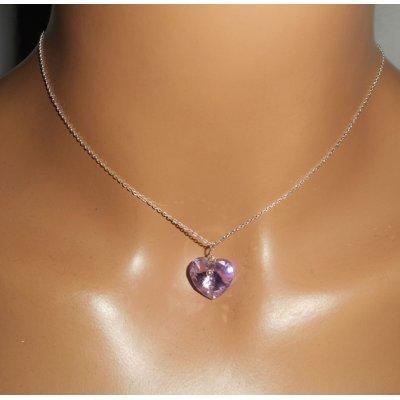 Pendentif coeur mauve en cristal de Swarovski sur chaine argent 925