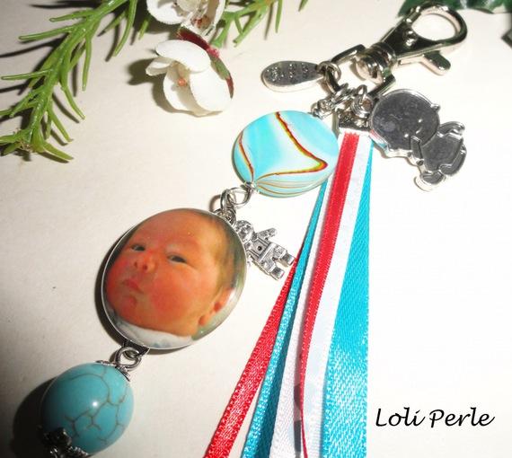 Porte clefs  naissance bleu