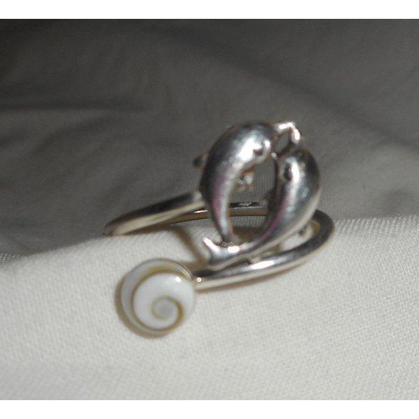 Bague dauphin en argent 925 avec oeil de Ste Lucie