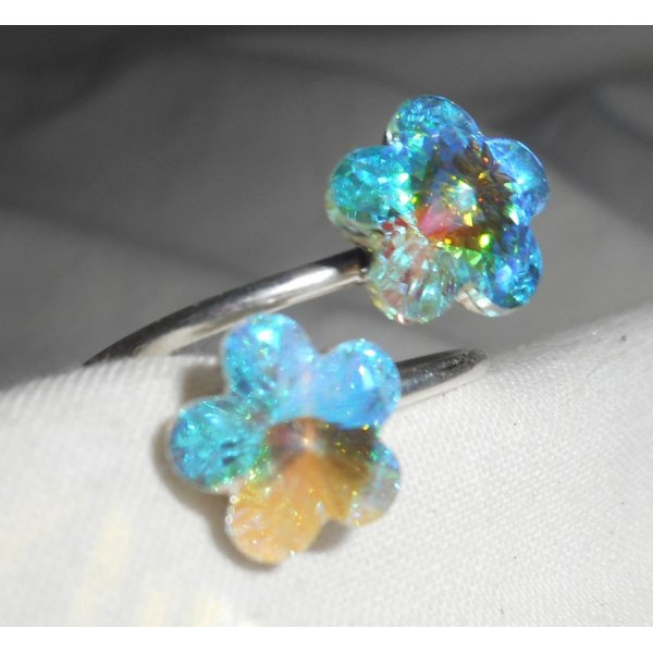 Bague double fleurs en cristal de Swarovski