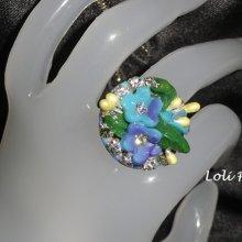 Bague fleurettes bleues et mauves avec cristal de Swarovski sur argent 925