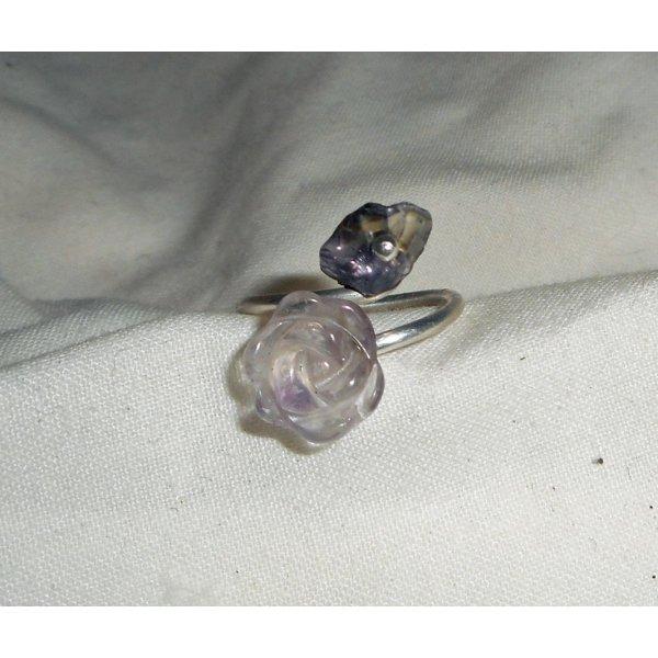 Bague fleurs et pierre en améthyste violet et argent 925